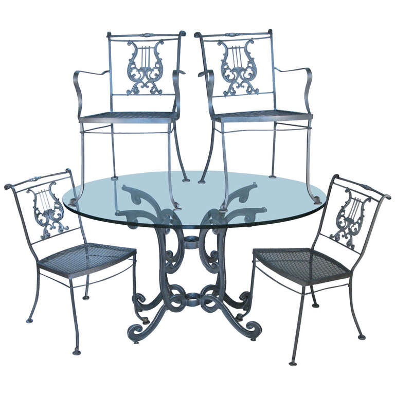 Vintage Wrought Iron Dining Set with Lyre Back Chairs at