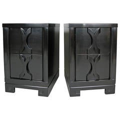 Pair of 1940s Ebonized Nightstands by Modernage