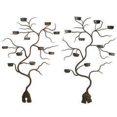 Pair of Antique Iron & Copper Tree Plant Stands