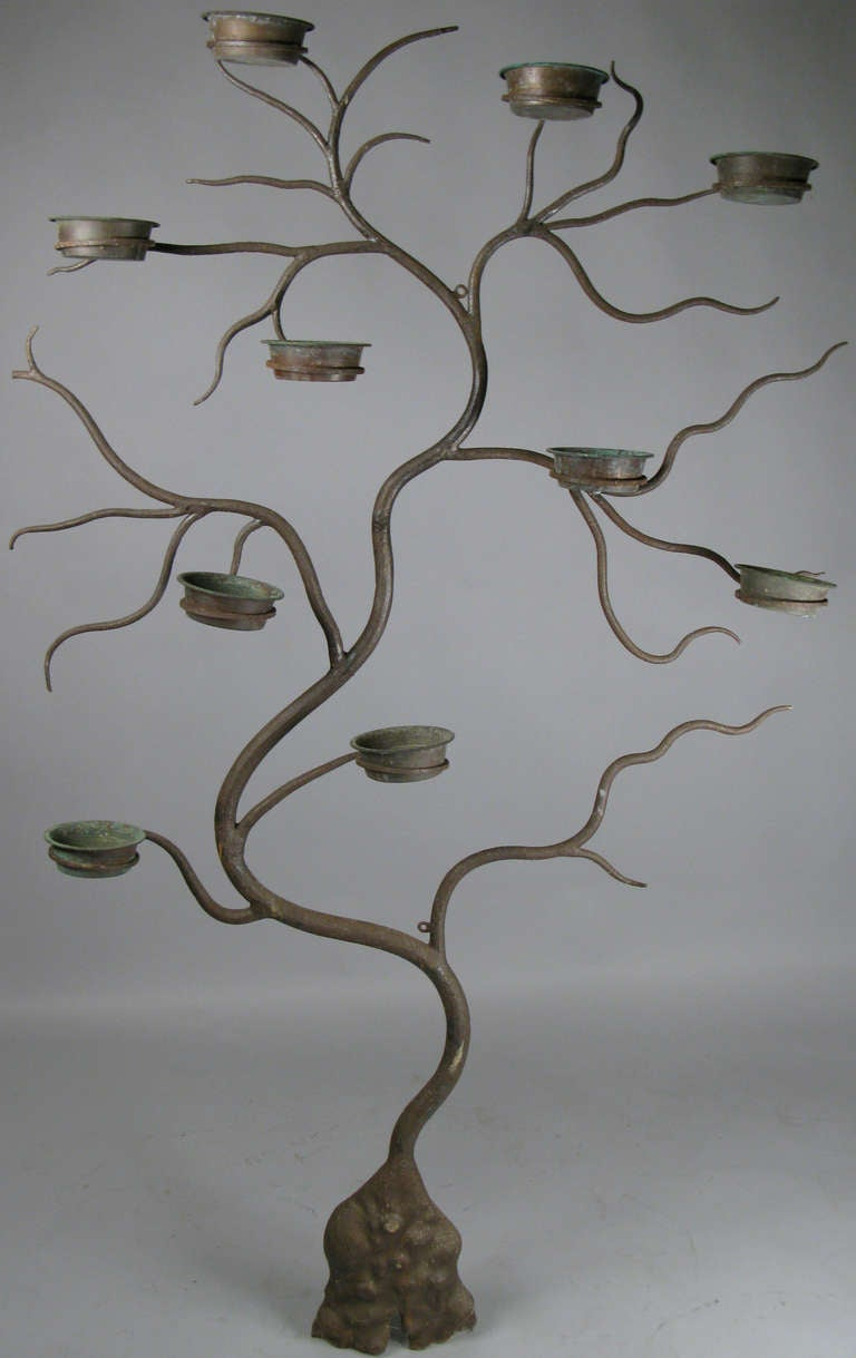 Pair Of Antique Iron And Copper Tree Plant Stands At 1stdibs