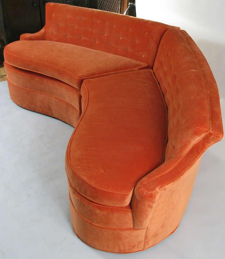Curved 1940 S Sectional Sofa In Orange Velvet At 1stdibs