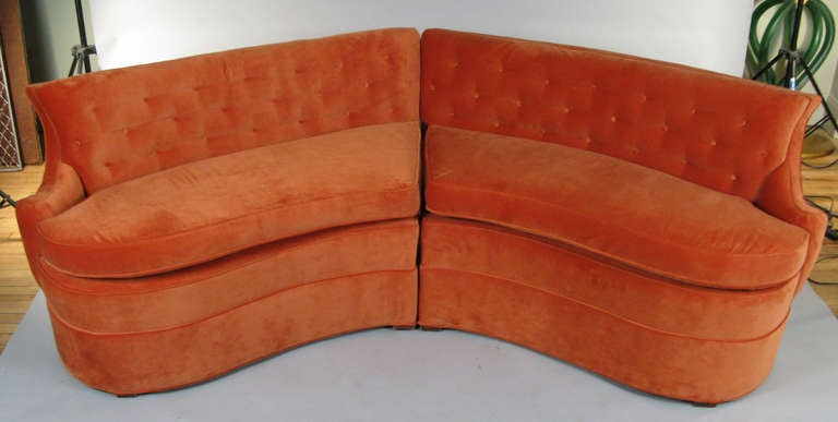 Curved 194039s sectional sofa in orange velvet at 1stdibs for Curved velvet sectional sofa