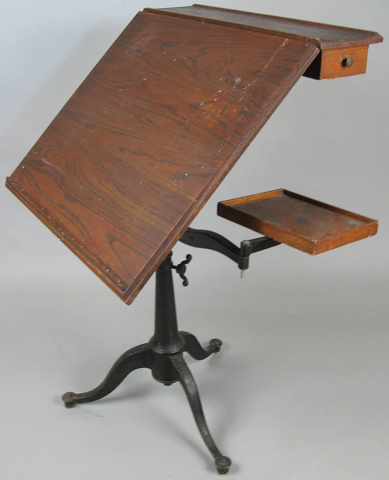 Antique Cast Iron Tilt Top Adjustable Drafting Table At