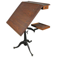 Antique Cast Iron, Tilt-Top Adjustable Drafting Table