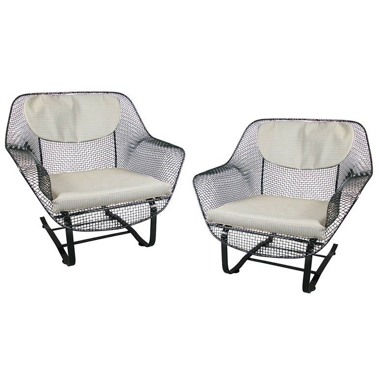 Pair of Classic Sculptura Garden Lounge Chairs by Russell Woodard