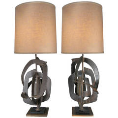 Pair of 1960s Sculptural Lamps by Harry Balmer