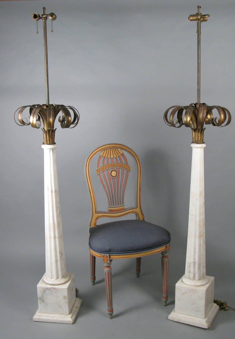 Outstanding Pair Of Italian Marble And Gilded Palm Floor
