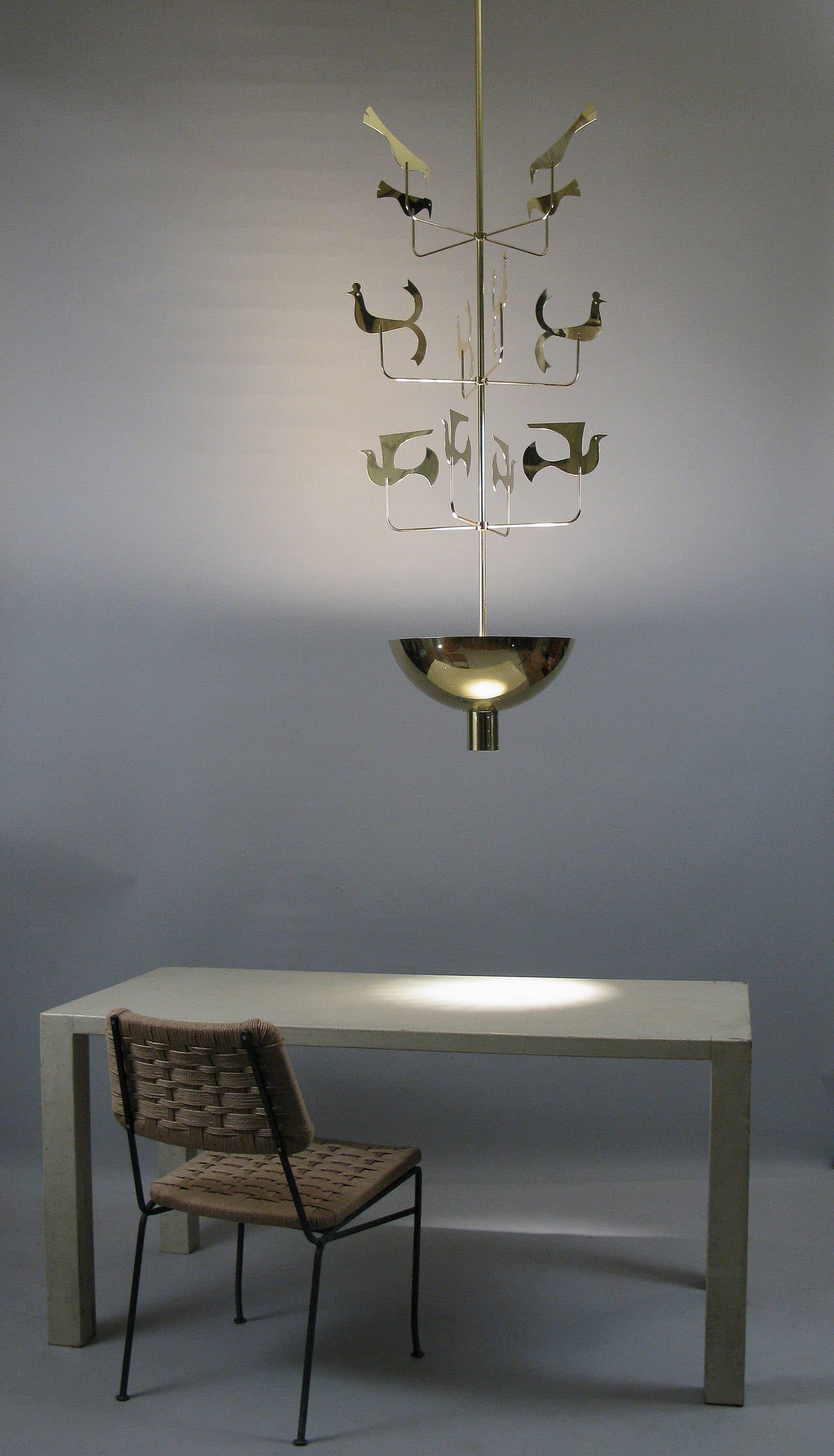 Rare 1940s Brass Chandelier by Tommi Parzinger for Parzinger