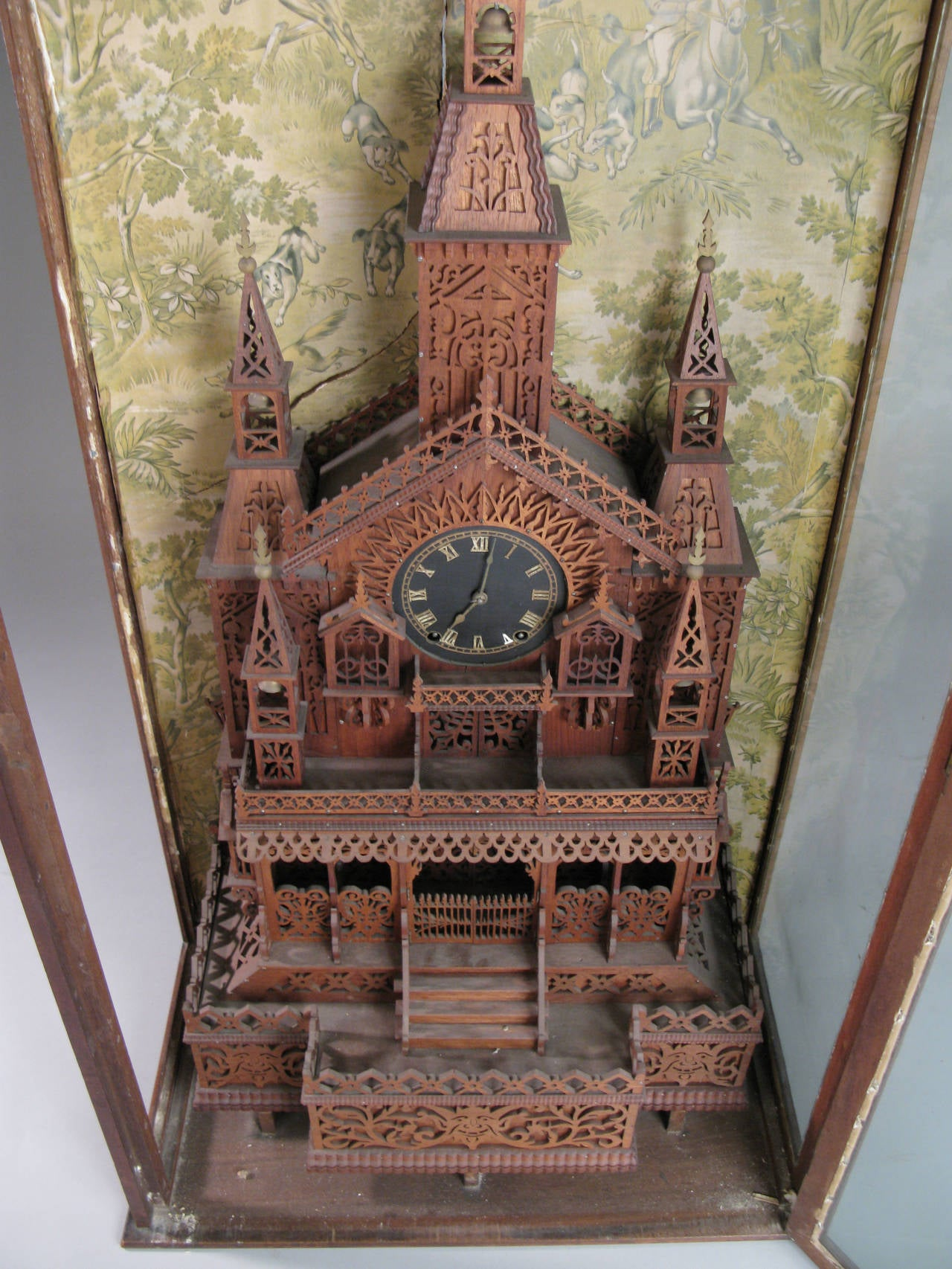 1920s Folk Art Cathedral Mantle Clock In Glass Case At 1stdibs