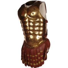 Vintage Roman Gladiator Costume in Brass & Leather