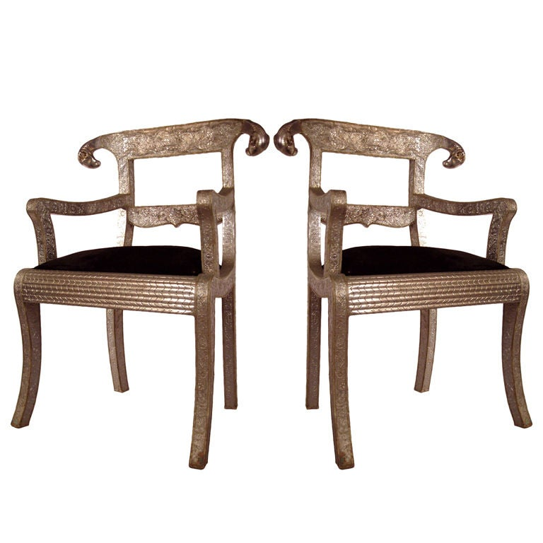Pair Of Antique Indian Rams Head Chairs At 1stdibs