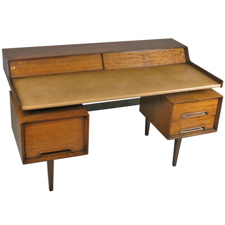 Vintage Walnut Leather Desk By John Van Koert For Drexel 1