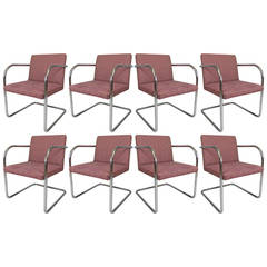 Set of Eight Vintage Chrome Dining Chairs by Thonet