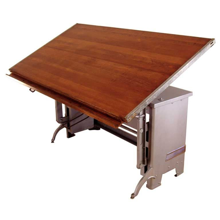 Delicieux Antique Large Adjustable Drafting Table For Sale