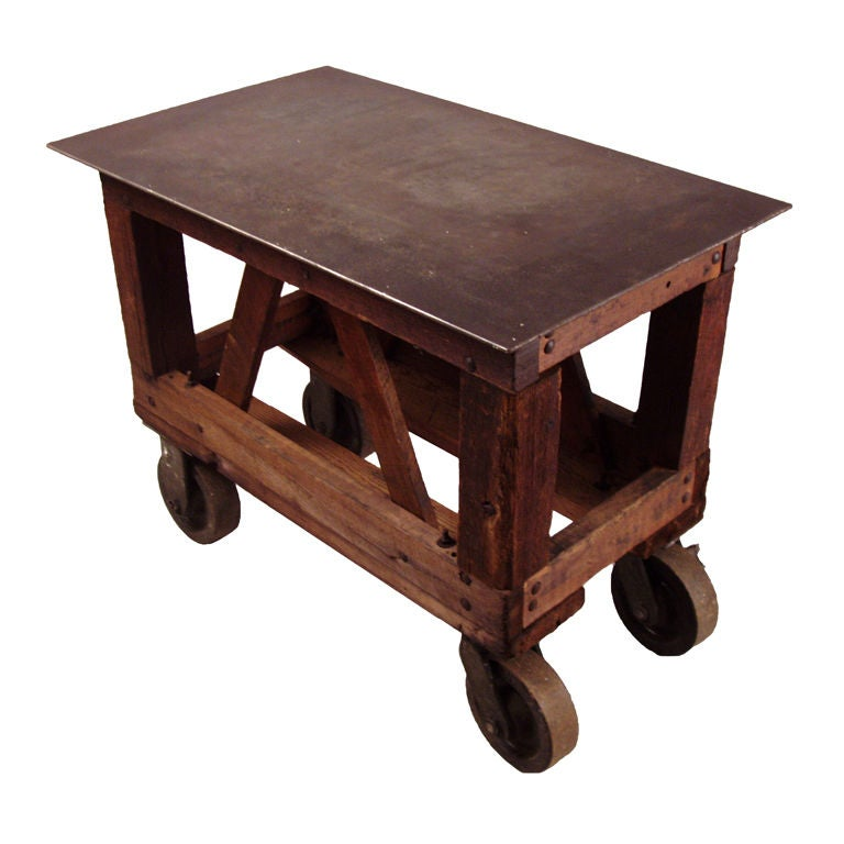 Antique Industrial Cast Iron and Steel Table Cart at 1stdibs