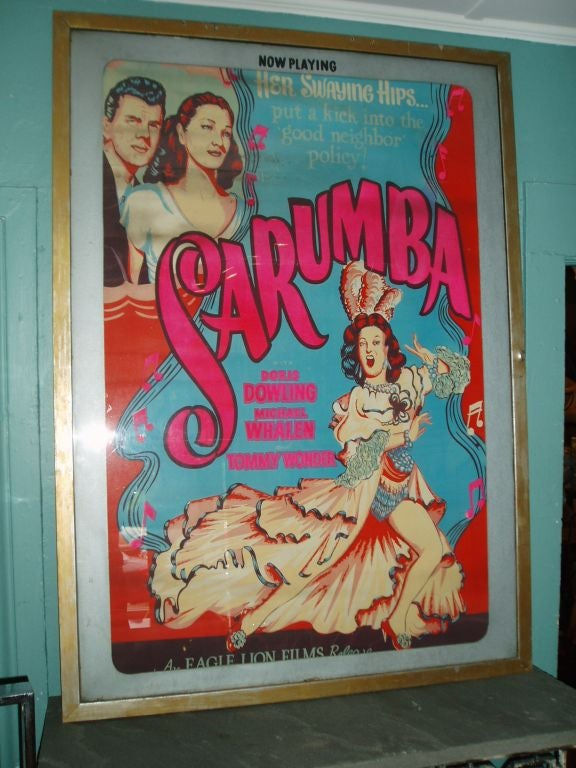 Sarumba!u0026#39; vintage silkscreen framed movie poster For Sale at 1stdibs