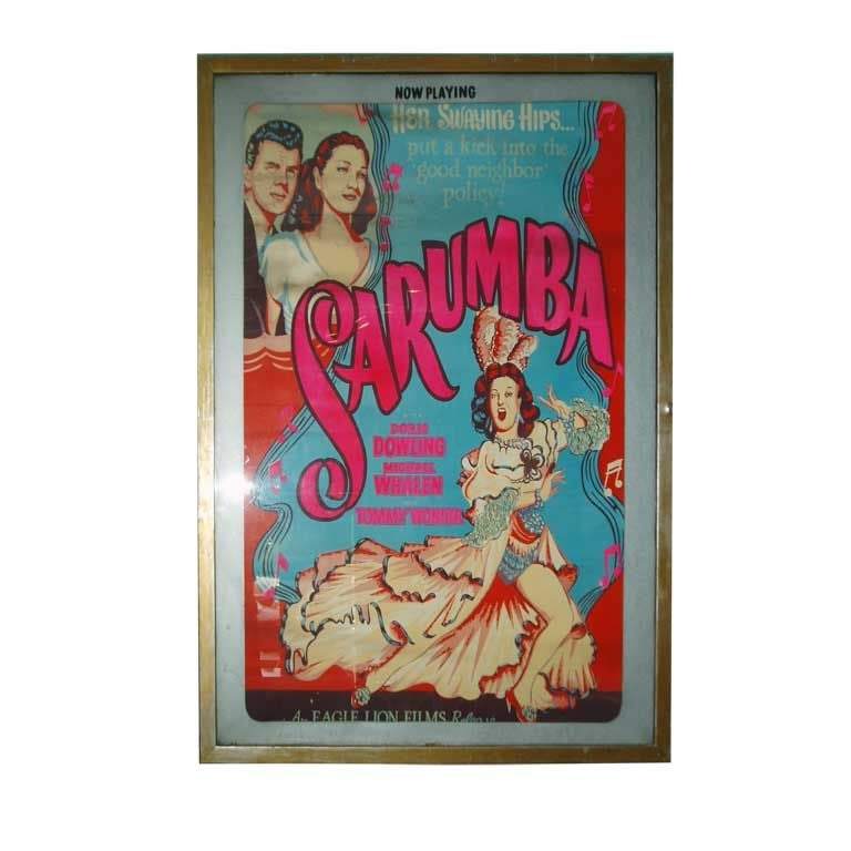 'Sarumba!' vintage silkscreen framed movie poster