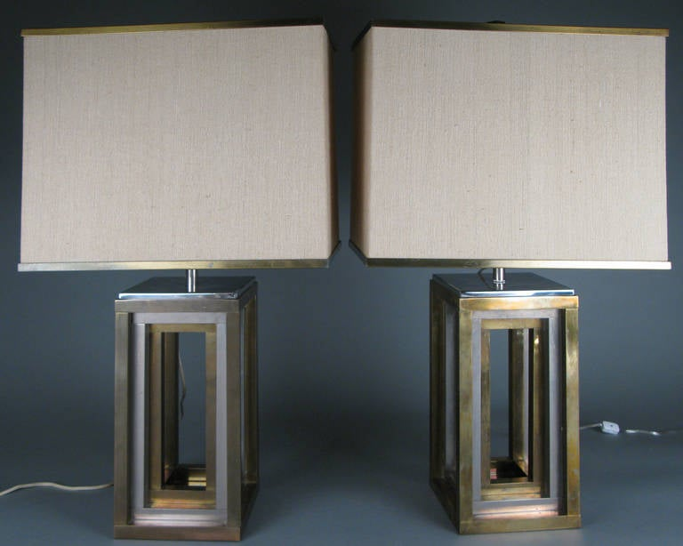 Pair of 1970s Italian Chrome and Brass Lamps by Romeo Rega In Good Condition For Sale In Hudson, NY