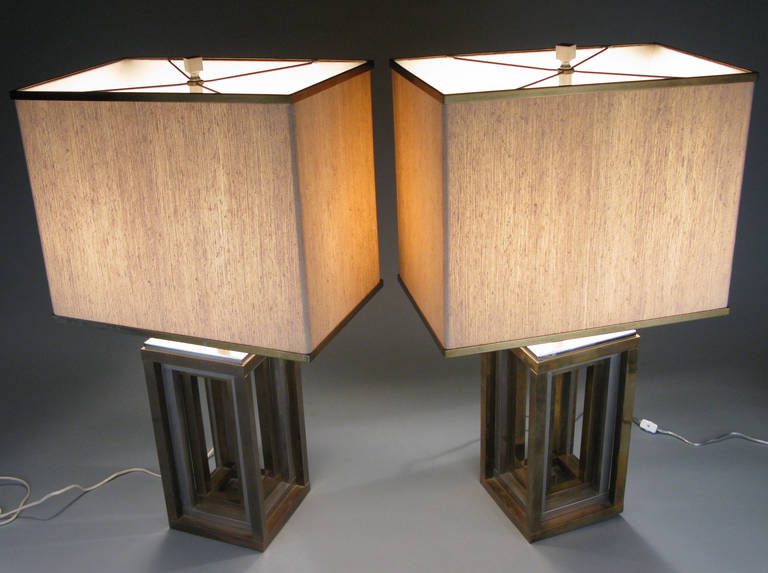 Pair of 1970s Italian Chrome and Brass Lamps by Romeo Rega For Sale 5