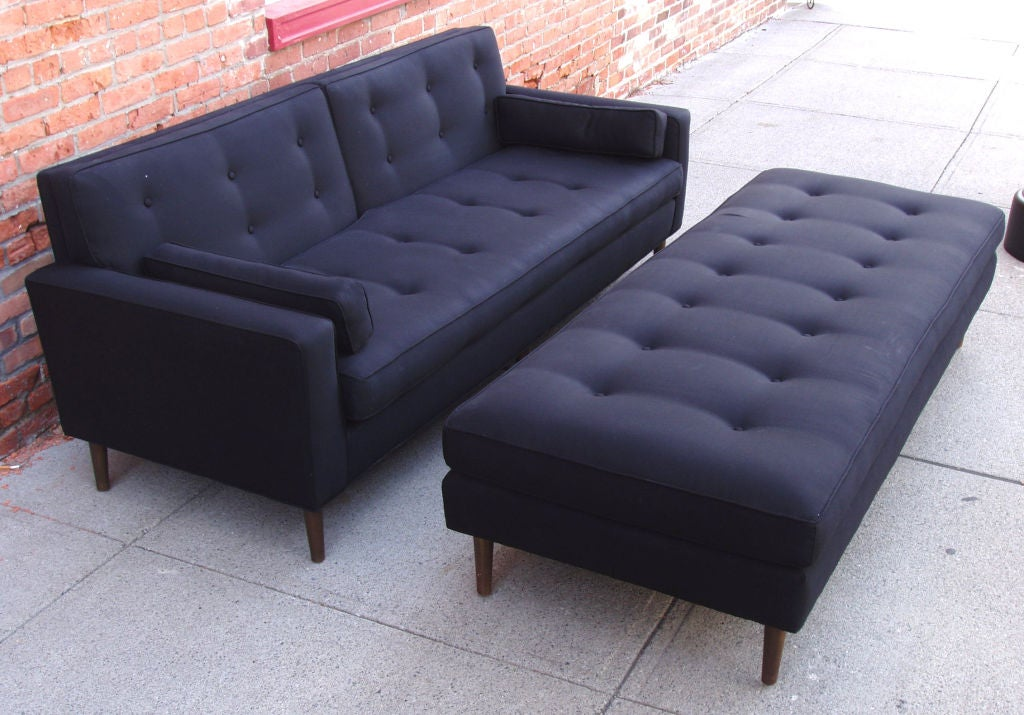 Vintage Mid Century Brass Base Sofa And Matching Ottoman At 1stdibs