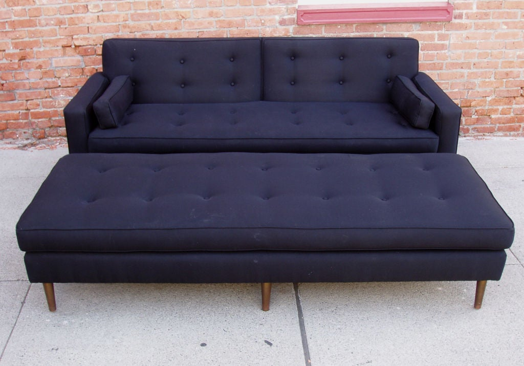 Vintage Mid Century Brass Base Sofa And Matching Ottoman