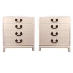Pair Hollywood Regency White Lacquer Chests Nightstands