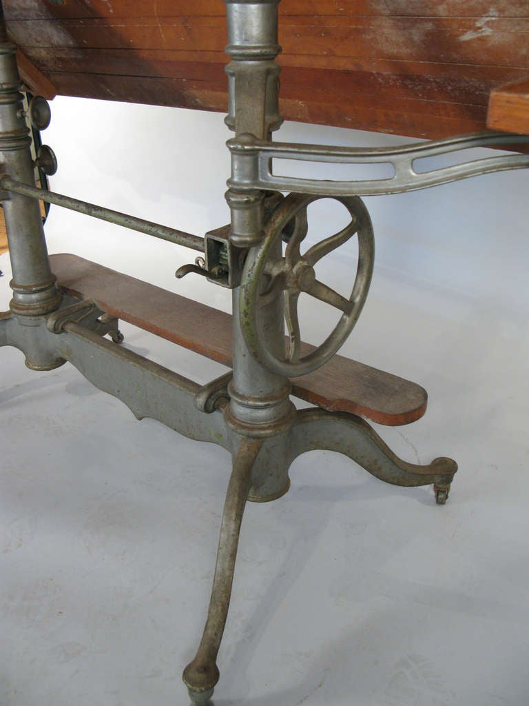 Antique Industrial Cast Iron Adjustable Drafting Table 8