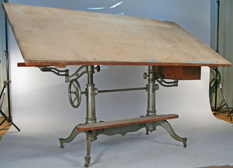 Antique Industrial Cast Iron Adjustable Drafting Table 2