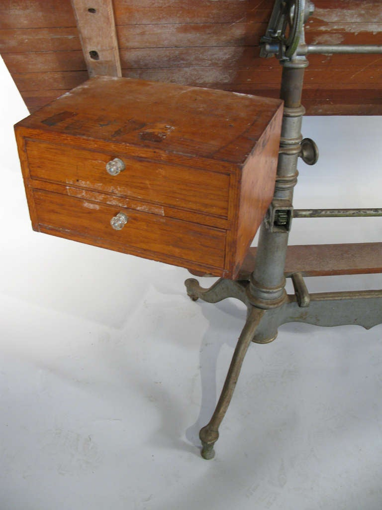 Antique Industrial Cast Iron Adjustable Drafting Table 9