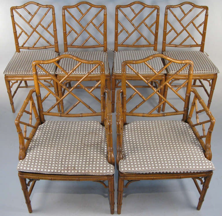 Set Of Six Vintage Faux Bamboo Dining Chairs At 1stdibs