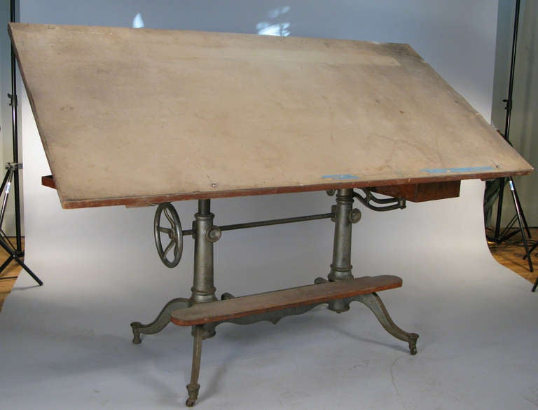 Antique Industrial Cast Iron Adjustable Drafting Table 3