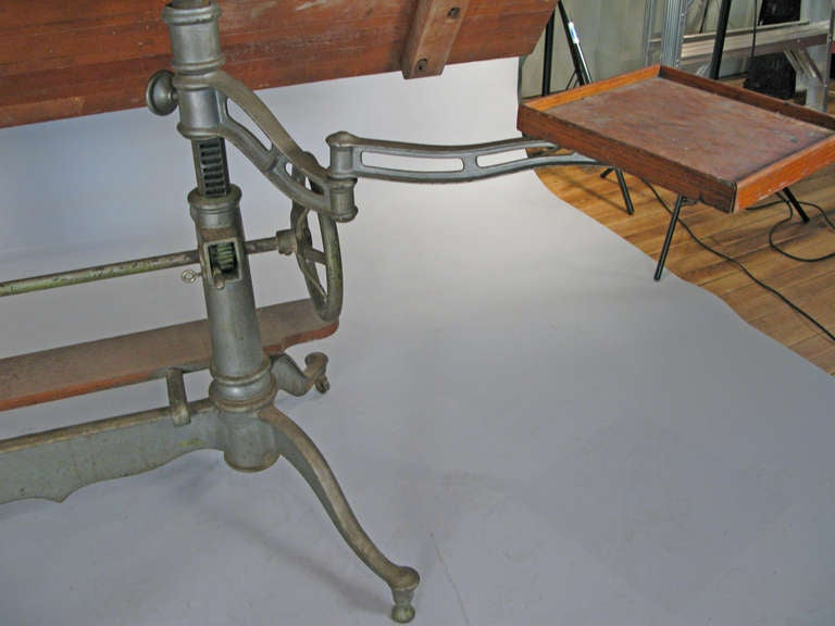 Antique Industrial Cast Iron Adjustable Drafting Table 10
