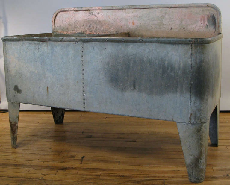 Antique French Galvanized Steel Farmhouse Double Sink 3