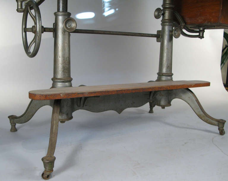 Antique Industrial Cast Iron Adjustable Drafting Table 4