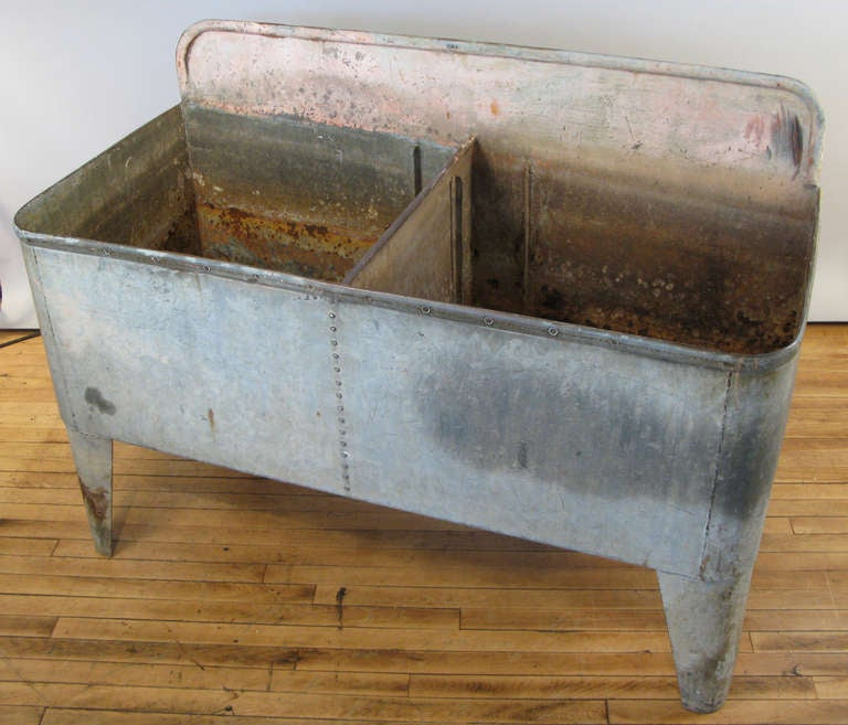 Antique French Galvanized Steel Farmhouse Double Sink At