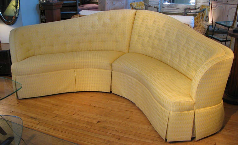 Curved And Button Tufted Sectional Sofa At 1stdibs
