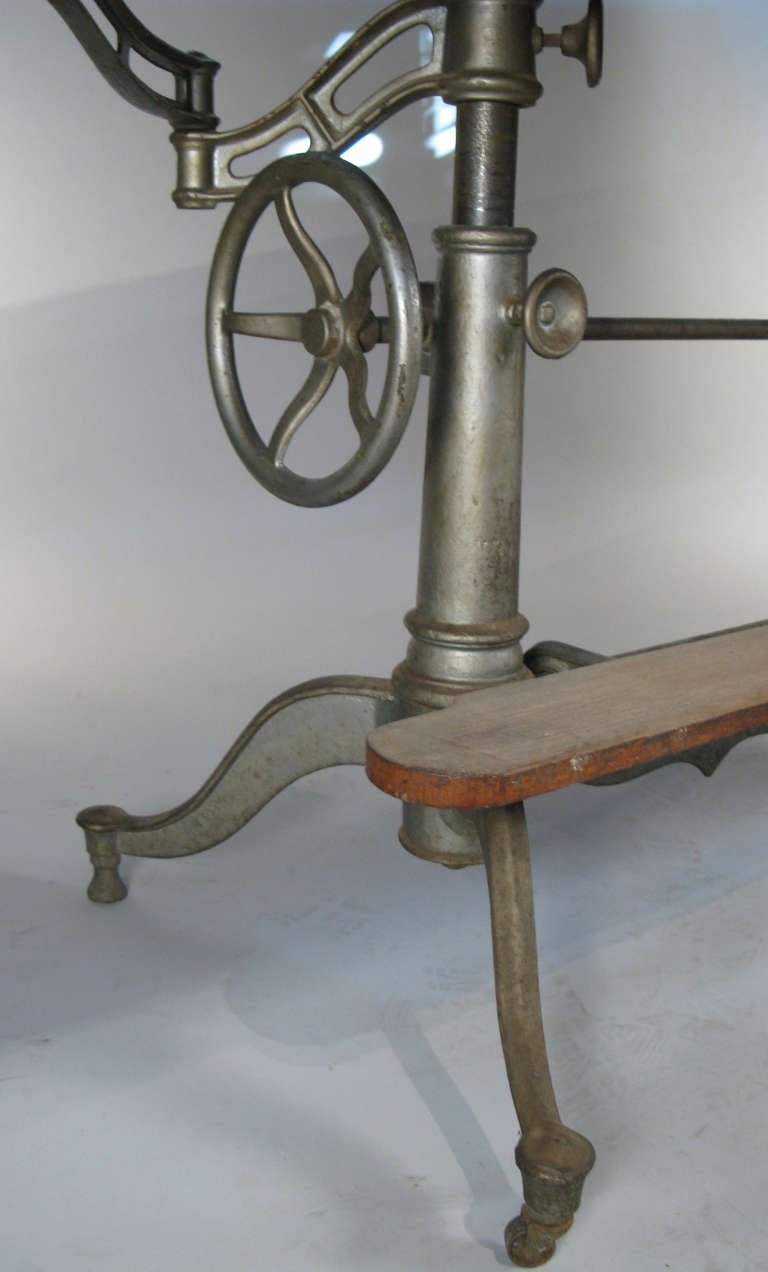 Antique Industrial Cast Iron Adjustable Drafting Table 5