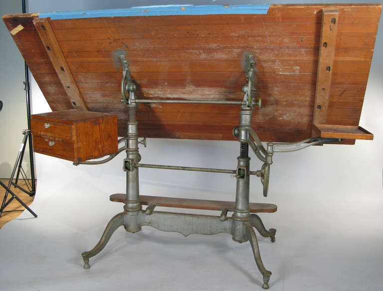 Antique Industrial Cast Iron Adjustable Drafting Table 6