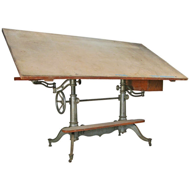 Antique Industrial Cast Iron Adjustable Drafting Table 1