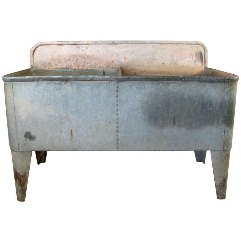 Antique French Galvanized Steel Farmhouse Double Sink 1
