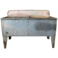 Antique French Galvanized Steel Farmhouse Double Sink
