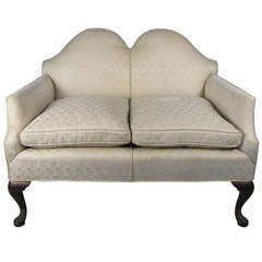 Antique Chippendale Style Camelback Settee
