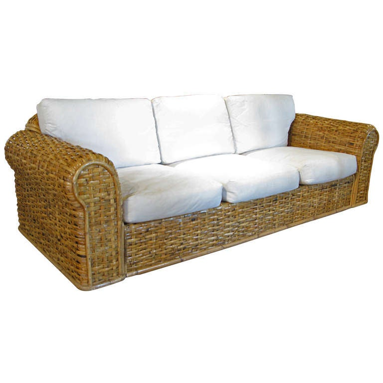 woven rattan sofa by ralph lauren at 1stdibs. Black Bedroom Furniture Sets. Home Design Ideas