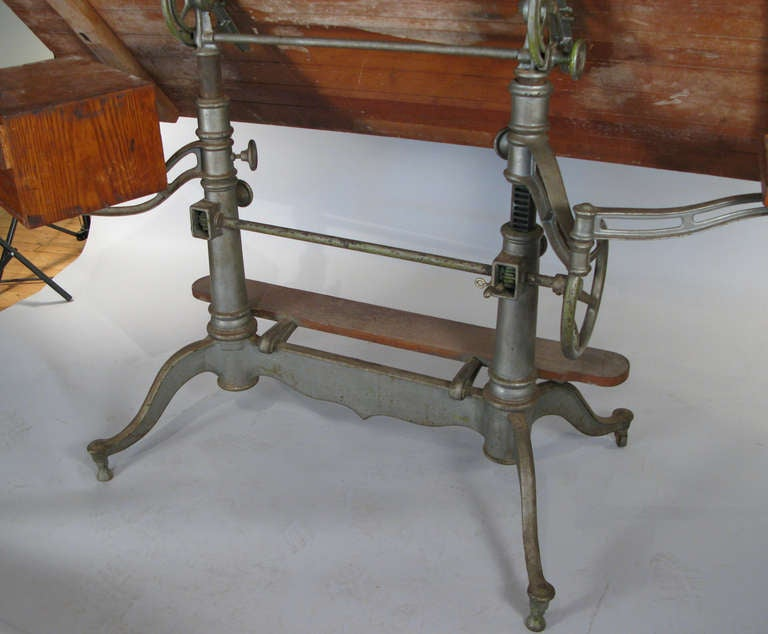 Antique Industrial Cast Iron Adjustable Drafting Table 7