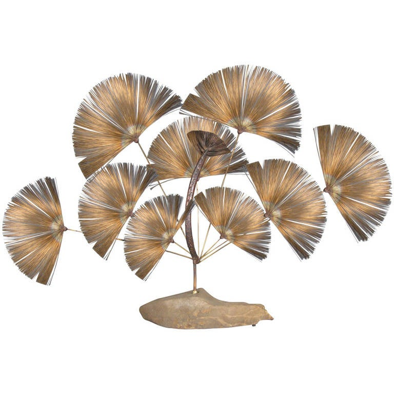 1960s Brass and Stone Peacock Sculpture