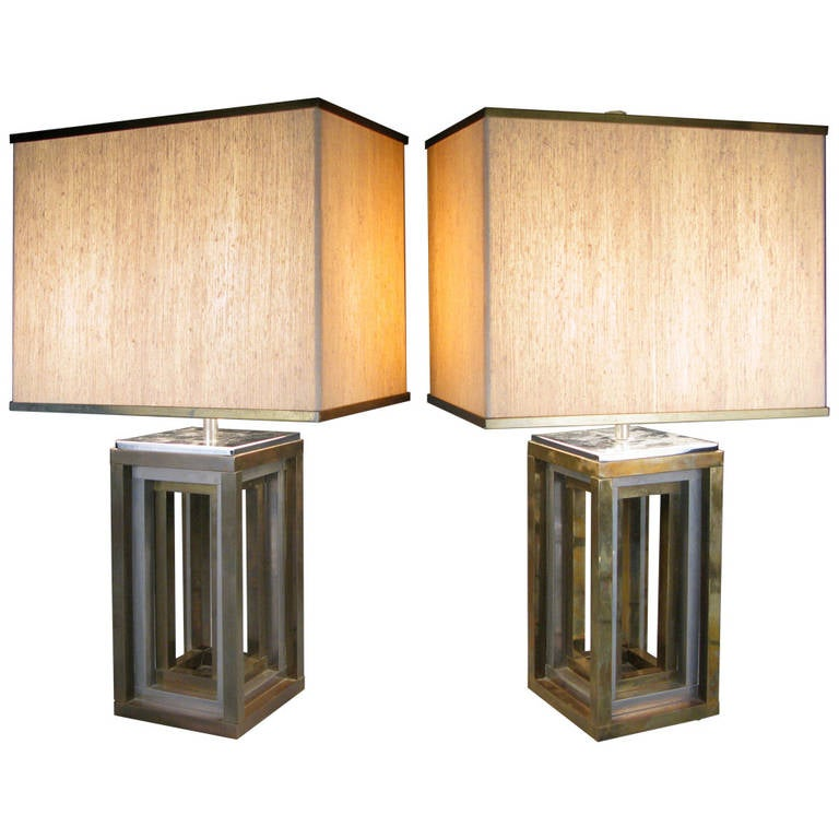 Pair of 1970s Italian Chrome and Brass Lamps by Romeo Rega