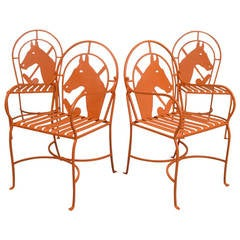 Set of 1940s Horse and Polo Iron Chairs