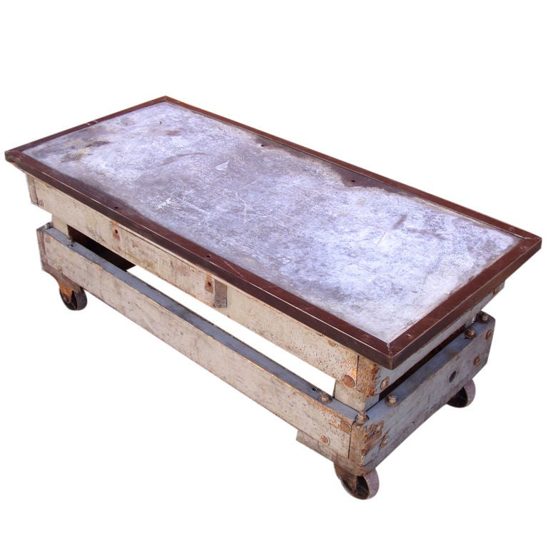 Industrial Coffee Table On Wheels At 1stdibs: Antique Industrial Rolling Cart Table At 1stdibs