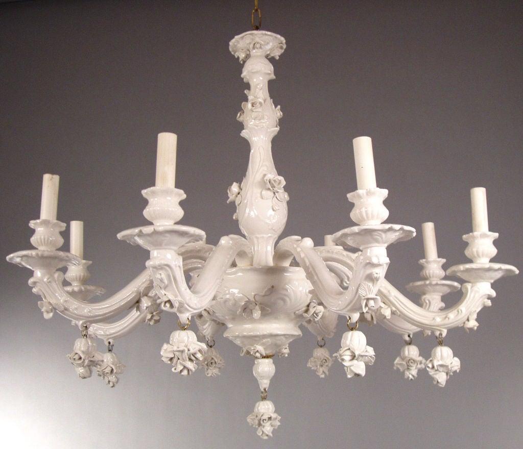 Vintage italian white porcelain blanc de chine chandelier at 1stdibs vintage italian white porcelain blanc de chine chandelier 2 arubaitofo Images