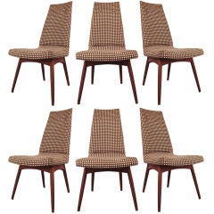 Set of Six Danish High Back Dining Chairs